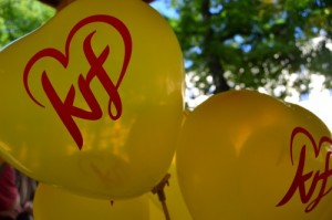 Krf logo on balloons