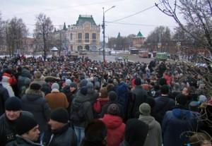 Bilde av demonstrasjoner mot 2011-valgresultatene i Nizhny Novgorod, Russland, i 2011. Kilde: Bestalex / Wikimedia Commons