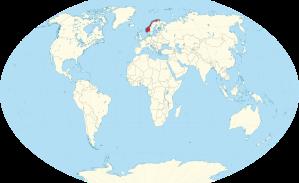 verdenskart med norge uthevet