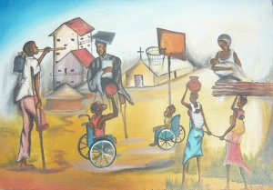 painting of different african persons with disabilities