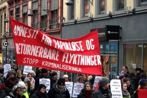 Demonstrasjon for amnesti for papirløse og returnerbare flyktninger, Oslo 2011. Foto: Flickr/GGAADD