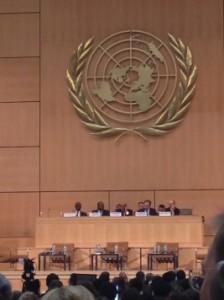 Panel Plenary Panel i FN med Michael Addo, Baudelaire Ndong Ella, Mo Ibrahim, Zeid Ra'ad Al Hussein og en representant fra sekretariatet til forumet. Foto: Privat