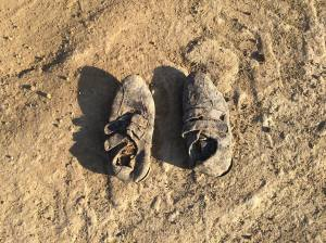 sko på stranda